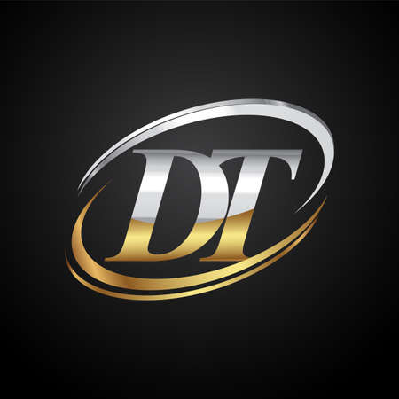initial letter DT logotype company name colored gold and silver swoosh design. isolated on black background. Logo