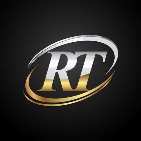 initial letter RT logotype company name colored gold and silver swoosh design. isolated on black background.