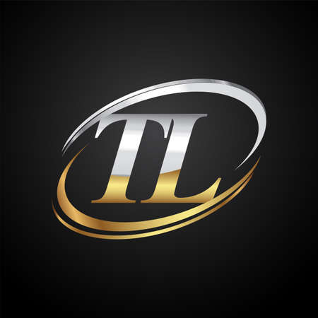 initial letter TL logotype company name colored gold and silver swoosh design. isolated on black background. Logó