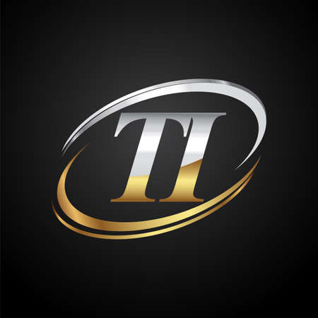 initial letter TI logotype company name colored gold and silver swoosh design. isolated on black background.