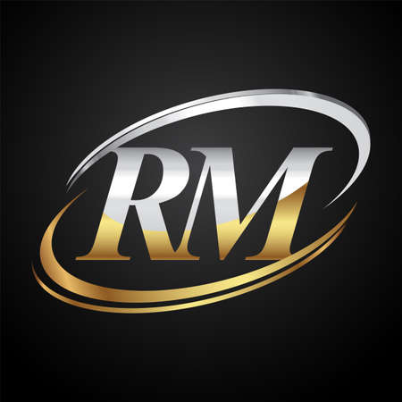 initial letter RM symbol company name colored gold and silver swoosh design. isolated on black background.
