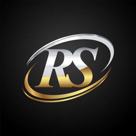 initial letter RS logotype company name colored gold and silver swoosh design. isolated on black background.