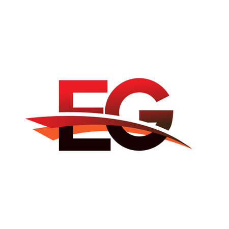 initial letter EG logotype company name colored black and red swoosh design.
