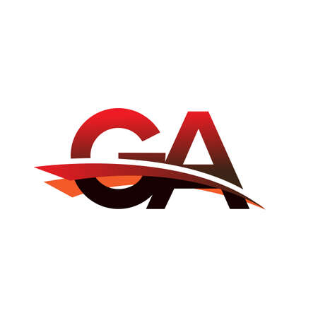 initial letter GA logotype company name colored black and red swoosh design.