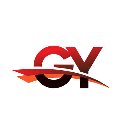 initial letter GY logotype company name colored black and red swoosh design.