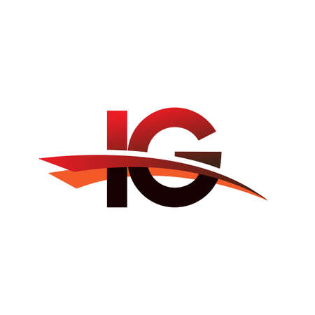 initial letter IG logotype company name colored black and red swoosh design.