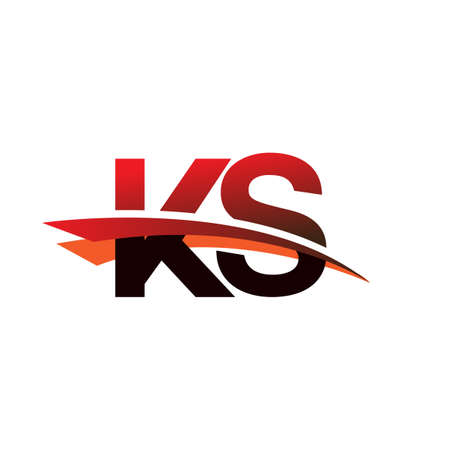 initial letter KS logotype company name colored black and red swoosh design.