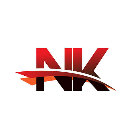 initial letter NK logotype company name colored black and red swoosh design.