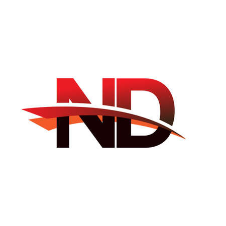 initial letter ND company name colored black and red swoosh design.