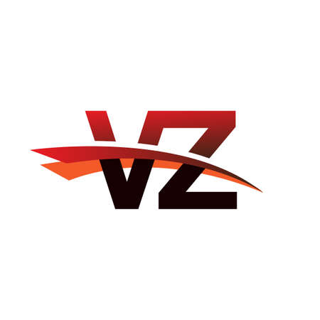 initial letter VZ symbol company name colored black and red swoosh design.