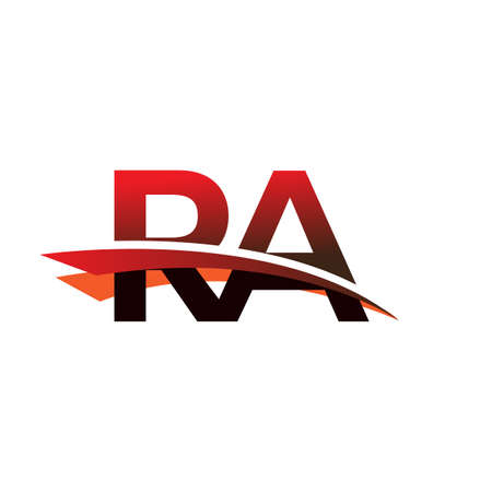 initial letter RA logotype company name colored black and red swoosh design.