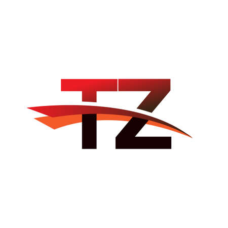 initial letter TZ symbol company name colored black and red swoosh design.