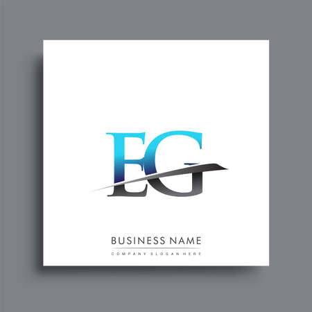 initial letter EG logotype company name colored blue and green swoosh design.