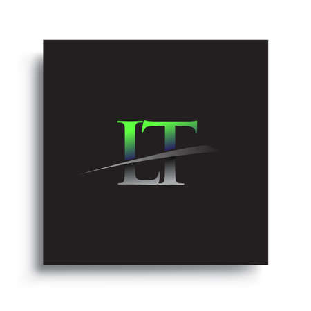 initial letter LT logotype company name colored blue and green swoosh design.