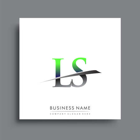 initial letter LS logotype company name colored blue and green swoosh design.