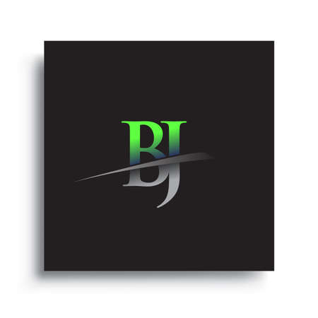 initial letter BJ logotype company name colored blue and green swoosh design.