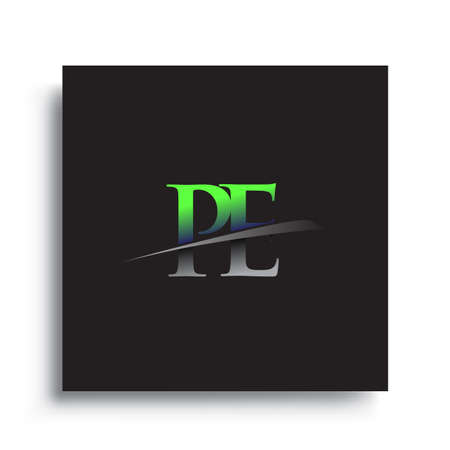 initial letter PE logotype company name colored blue and green swoosh design.