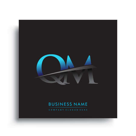 initial letter QM   company name colored blue and green swoosh design.