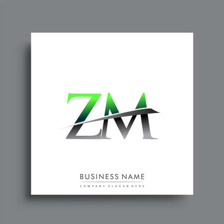 initial letter ZM   company name colored blue and green swoosh design.