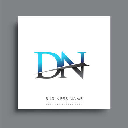 initial letter DN   company name colored blue and green swoosh design. Ilustração