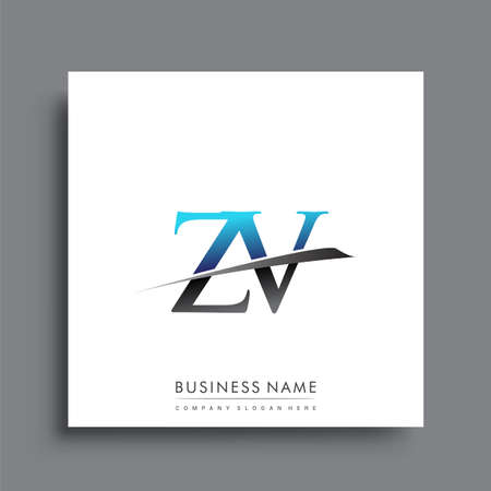 initial letter ZV company name colored blue and green swoosh design.