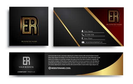 initial letter ER logotype company name colored gold elegant design. Vector sets for business identity on black background.