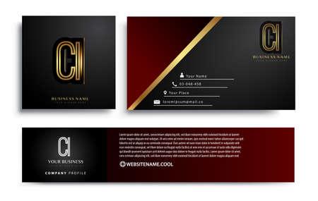 initial letter CI logotype company name colored gold elegant design. Vector sets for business identity on black background. Illusztráció