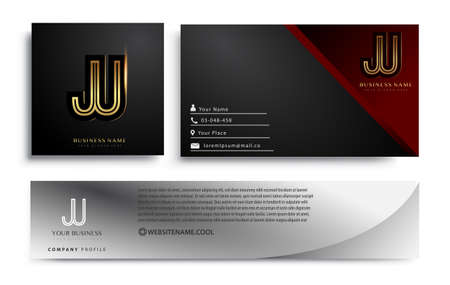 initial letter JU logotype company name colored gold elegant design. Vector sets for business identity on black background. 向量圖像