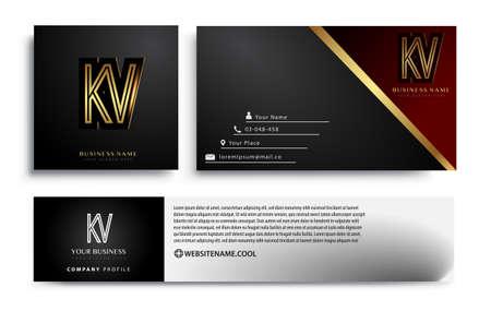 initial letter KV logotype company name colored gold elegant design. Vector sets for business identity on black background. Logó