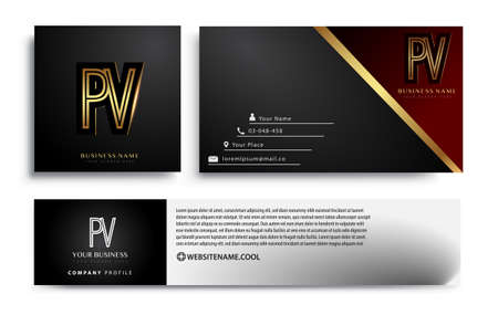 initial letter PV logotype company name colored gold elegant design. Vector sets for business identity on black background.