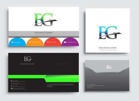Clean and simple modern Business Card Template, with initial letter EG logotype company name colored blue and green swoosh design. Vector sets for business identity, Stationery Design. Logó