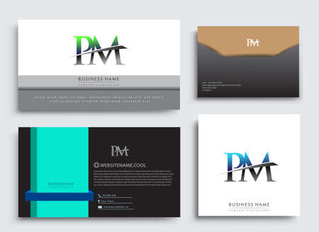 Clean and simple modern Business Card Template, with initial letter PM logotype company name colored blue and green swoosh design. Vector sets for business identity, Stationery Design.