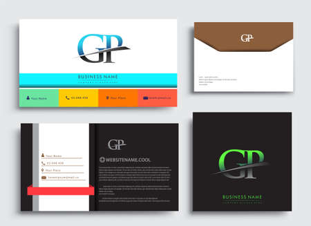 Clean and simple modern Business Card Template, with initial letter GP logotype company name colored blue and green swoosh design. Vector sets for business identity, Stationery Design.