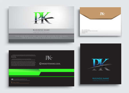 Clean and simple modern Business Card Template, with initial letter PK logotype company name colored blue and green swoosh design. Vector sets for business identity, Stationery Design. Logó