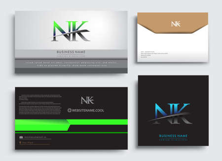 Clean and simple modern Business Card Template, with initial letter NK logotype company name colored blue and green swoosh design. Vector sets for business identity, Stationery Design.