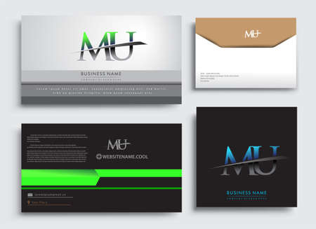 Clean and simple modern Business Card Template, with initial letter MU logotype company name colored blue and green swoosh design. Vector sets for business identity, Stationery Design.