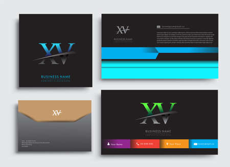 Clean and simple modern Business Card Template, with initial letter XV logotype company name colored blue and green swoosh design. Vector sets for business identity, Stationery Design.