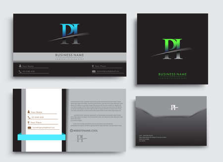Clean and simple modern Business Card Template, with initial letter PI logotype company name colored blue and green swoosh design. Vector sets for business identity, Stationery Design. Çizim
