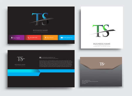 Clean and simple modern Business Card Template, with initial letter TS logotype company name colored blue and green swoosh design. Vector sets for business identity, Stationery Design.