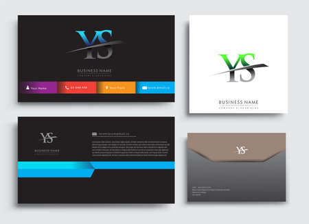 Clean and simple modern Business Card Template, with initial letter YS logotype company name colored blue and green swoosh design. Vector sets for business identity, Stationery Design.