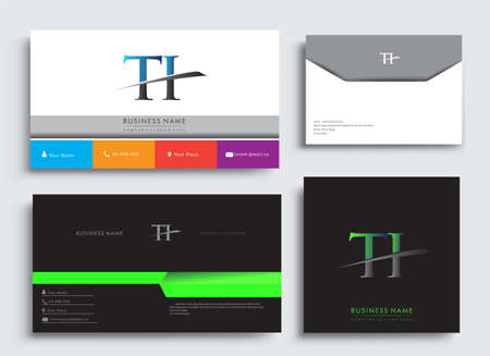 Clean and simple modern Business Card Template, with initial letter TI logotype company name colored blue and green swoosh design. Vector sets for business identity, Stationery Design. Çizim