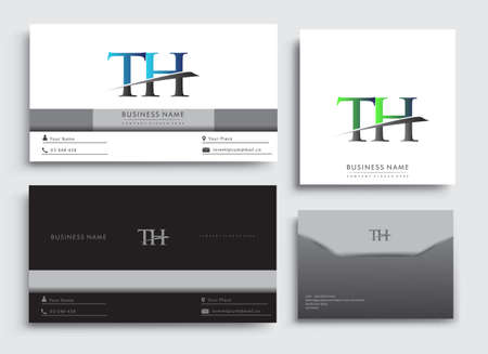 Clean and simple modern Business Card Template, with initial letter TH logotype company name colored blue and green swoosh design. Vector sets for business identity, Stationery Design.