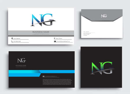 Clean and simple modern Business Card Template, with initial letter NG logotype company name colored blue and green swoosh design. Vector sets for business identity, Stationery Design.