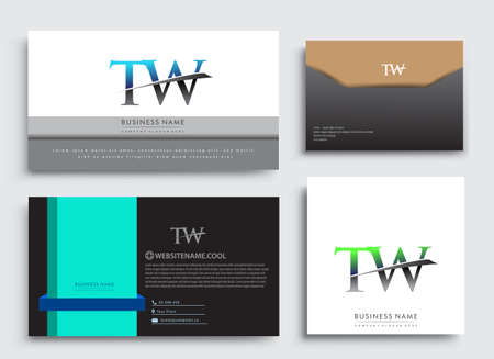 Clean and simple modern Business Card Template, with initial letter TW logotype company name colored blue and green swoosh design. Vector sets for business identity, Stationery Design. Çizim