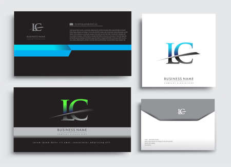 Clean and simple modern Business Card Template, with initial letter LC logotype company name colored blue and green swoosh design. Vector sets for business identity, Stationery Design.