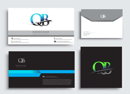 Clean and simple modern Business Card Template, with initial letter QB logotype company name colored blue and green swoosh design. Vector sets for business identity, Stationery Design.