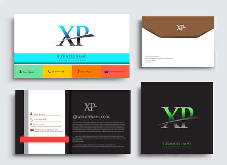 Clean and simple modern Business Card Template, with initial letter XP logotype company name colored blue and green swoosh design. Vector sets for business identity, Stationery Design.