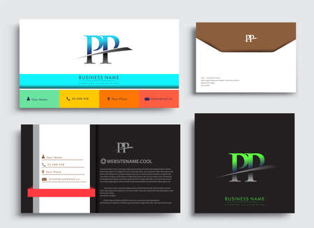 Clean and simple modern Business Card Template, with initial letter PP logotype company name colored blue and green swoosh design. Vector sets for business identity, Stationery Design.