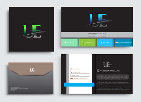 Clean and simple modern Business Card Template, with initial letter UE logotype company name colored blue and green swoosh design. Vector sets for business identity, Stationery Design.