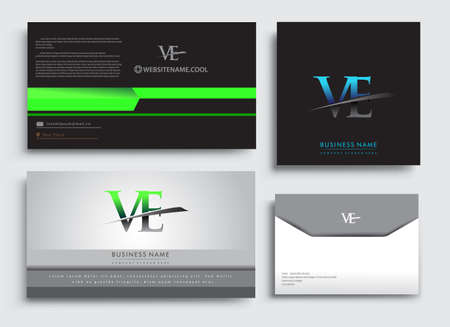 Clean and simple modern Business Card Template, with initial letter VE logotype company name colored blue and green swoosh design. Vector sets for business identity, Stationery Design.